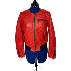 Marc Cain Vintage Leather Moto Quilted  M …